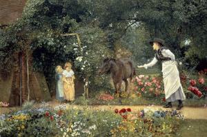 Feeding a Pony in a Surrey Garden by Edward Killingworth Johnson
