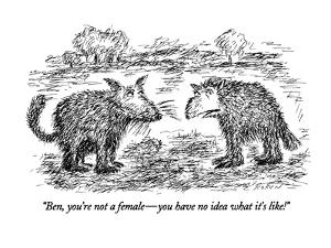 """Ben, you're not a female?you have no idea what it's like!"" - New Yorker Cartoon by Edward Koren"