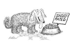 Dog food bowl is Zagat rated. - New Yorker Cartoon by Edward Koren