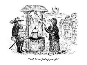 """""""First, let me pull up your file."""" - New Yorker Cartoon by Edward Koren"""