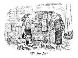 """""""His first fax."""" - New Yorker Cartoon by Edward Koren"""