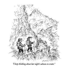 """I keep thinking about last night's salmon en croûte."" - New Yorker Cartoon by Edward Koren"
