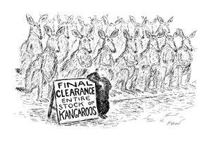 Man stands in front of double row of kangaroos, with a sign reading, FINAL? - New Yorker Cartoon by Edward Koren