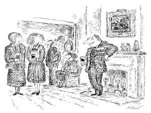 Man with name tag, 'Trouble'. - New Yorker Cartoon by Edward Koren