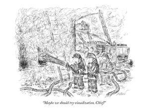 """Maybe we should try visualization, Chief!"" - New Yorker Cartoon by Edward Koren"