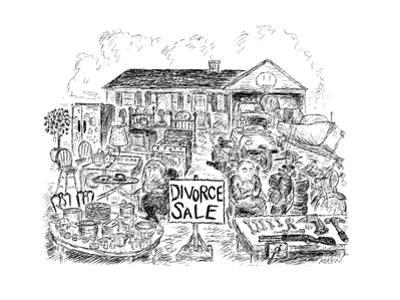 Sign in yard reads: Divorce Sale.  Man and woman sit glumly with folded ar? - New Yorker Cartoon by Edward Koren