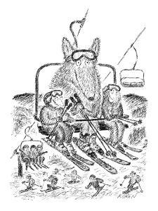 Ski lift holds fuzzy giant beast with skis and an uneasy look on its face,? - New Yorker Cartoon by Edward Koren