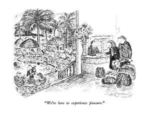 """We're here to experience pleasure."" - New Yorker Cartoon by Edward Koren"