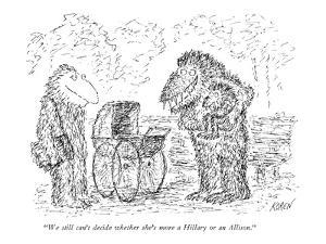 """""""We still can't decide whether she's more a Hillary or an Allison."""" - New Yorker Cartoon by Edward Koren"""