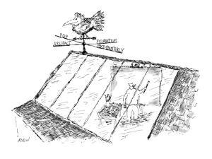 Weather vane on artist's studio points in Abstract, Pop, Figurative, and P? - New Yorker Cartoon by Edward Koren
