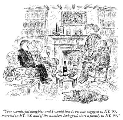 """""""Your wonderful daughter and I would like to become engaged in F.Y. '97, m…"""" - New Yorker Cartoon by Edward Koren"""