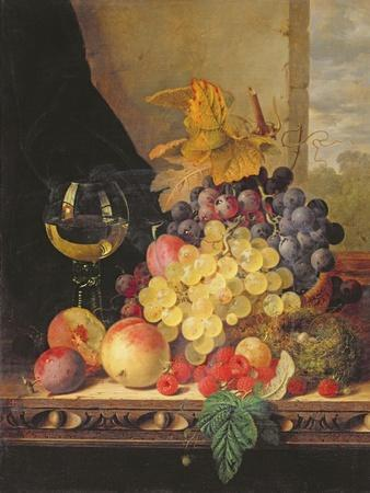 A Still Life with Grapes, Raspberries and a Glass of Wine