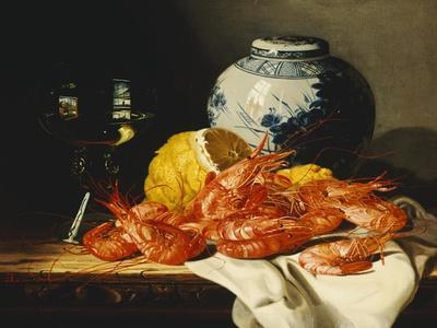 Shrimps, a Peeled Lemon, a Glass of Wine and a Blue and White Ginger Jar on a Draped Table