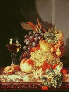 Still Life with Grapes and Wine by Edward Ladell