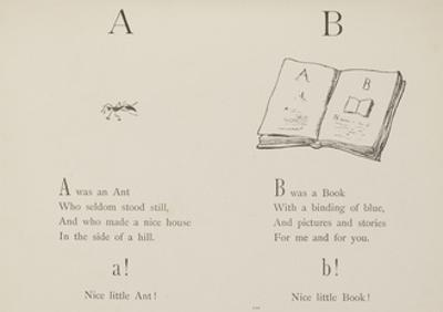 Ant and Book Illustrations and Verse From Nonsense Alphabets by Edward Lear.