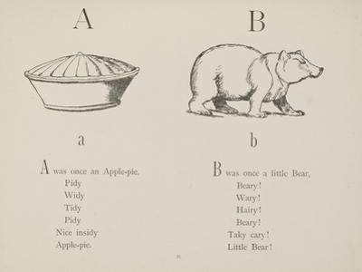Apple-pie and Bear Illustrations and Verse From Nonsense Alphabets by Edward Lear.