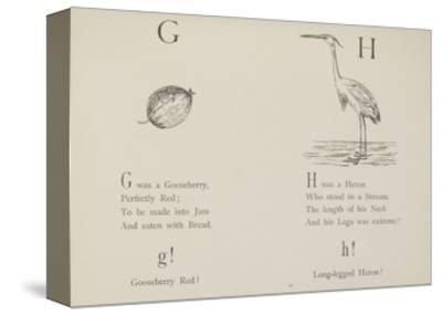 Gooseberry and Heron Illustrations and Verse From Nonsense Alphabets by Edward Lear.