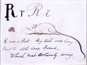 The Letter R of the Alphabet, c.1880 Pen and Indian Ink by Edward Lear