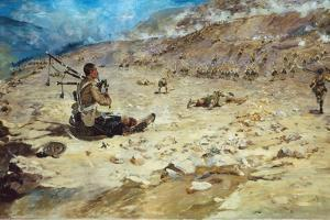 Piper George Findlater (1872-1942) of the Gordon Highlanders Earning the Victoria Cross at Dargai… by Edward Matthew Hale