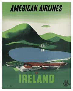 Ireland - Ross Castle, Killarney National Park - American Airlines by Edward Mcknight-Kauffer