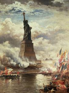 The Unveiling of the Statue of Liberty, Enlightening the World, 1886 by Edward Moran