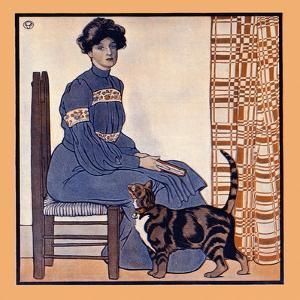 Woman Sitting On A Chair Holding A Book With A Cat Looking On by Edward Penfield