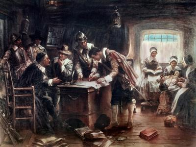 The Signing of the Mayflower Compact, c.1900