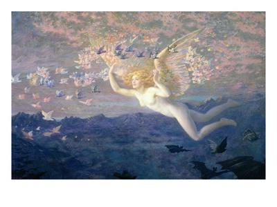 On the Wings of the Morning, 1905 (W/C Heightened with Bodycolour and Gold Paint)