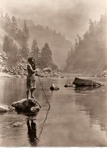 A Smoky Day at the Sugar Bowl - Hupa, North American Indians by Edward S. Curtis