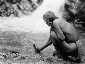 An Offering at the Waterfall, Nambe Indian by Edward S^ Curtis