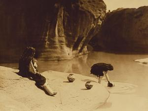 At the Old Well at Acoma by Edward S^ Curtis