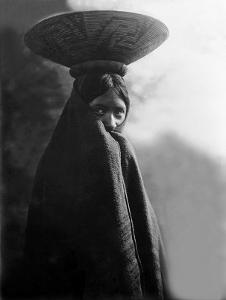 Maricopa Girl with Basket by Edward S^ Curtis