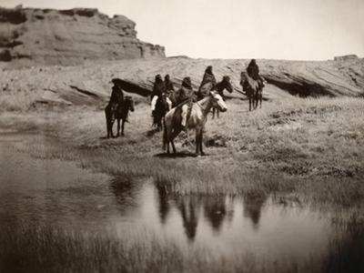 Navajo On Horseback, C1904 by Edward S^ Curtis