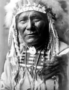 Nez Perc Head Dress by Edward S. Curtis