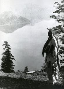 Praying to the Spirits at Crater Lake, Klamath by Edward S^ Curtis
