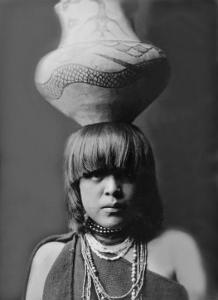 San Ildefonso Girl with Jar by Edward S^ Curtis