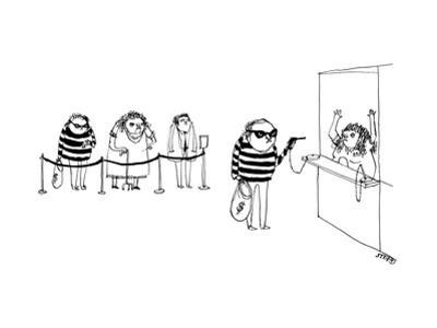 A bank robber robbing a bank with a gun on a chain like a pen, while other... - New Yorker Cartoon by Edward Steed