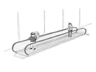 A burglar is on a moving walkway holding a bag of money. A police officer … - New Yorker Cartoon by Edward Steed