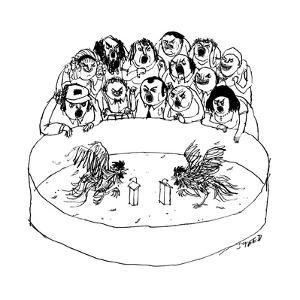 A cockfight scene, but the cocks are speaking at podiums in a debate.  - New Yorker Cartoon by Edward Steed