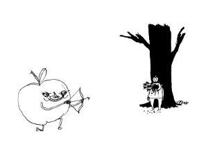 A huge apple creature with a bow and arrow shoots a boy upon whose head si... - New Yorker Cartoon by Edward Steed