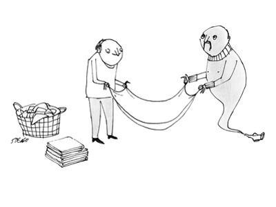 A man and a genie work together to fold laundry. - New Yorker Cartoon by Edward Steed