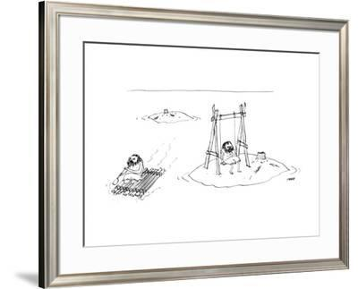 A man on a raft paddles away from a desert island with a tree stump, and p… - New Yorker Cartoon by Edward Steed