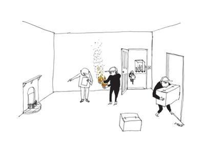 A man with a clipboard directs a mover holding fire in both hands to put i... - New Yorker Cartoon by Edward Steed