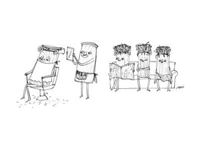 A Roman column gives another Roman column a haircut. - New Yorker Cartoon by Edward Steed