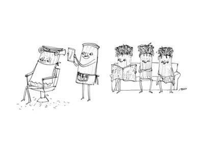 A Roman column gives another Roman column a haircut. - New Yorker Cartoon by Edward Steed