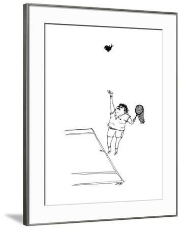A tennis player holds a fishing net instead of a racket, and tosses up a f... - New Yorker Cartoon by Edward Steed
