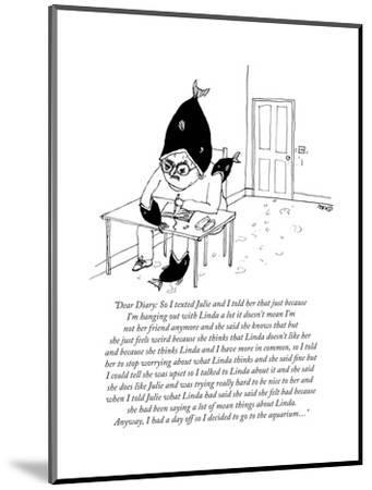 """""""Dear Diary: So I texted Julie and I told her that just because I'm hangin... - New Yorker Cartoon by Edward Steed"""