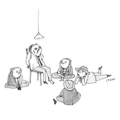 Five mob-type guys all sit like children on the floor, looking at a severe… - New Yorker Cartoon by Edward Steed