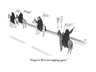 """Forget it. We're not stopping again."" - New Yorker Cartoon by Edward Steed"