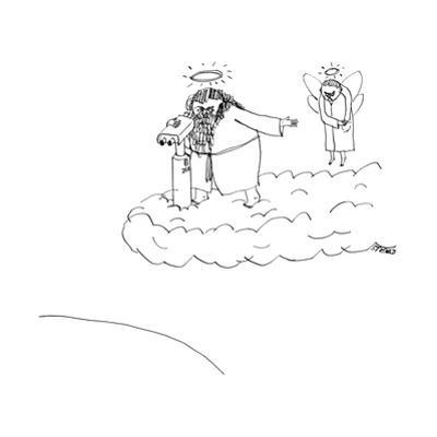 God asks angel for change in order to look through the tower viewer. - New Yorker Cartoon by Edward Steed